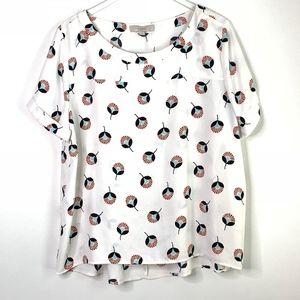 [LOFT] White, navy & red floral print blouse #I18